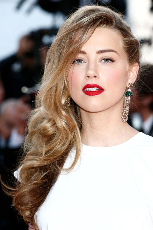 amber heard side swept bangs