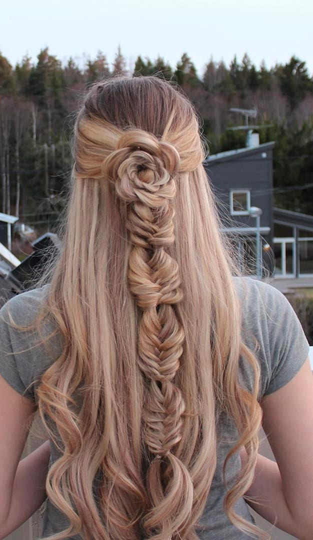 flower fishtail braids