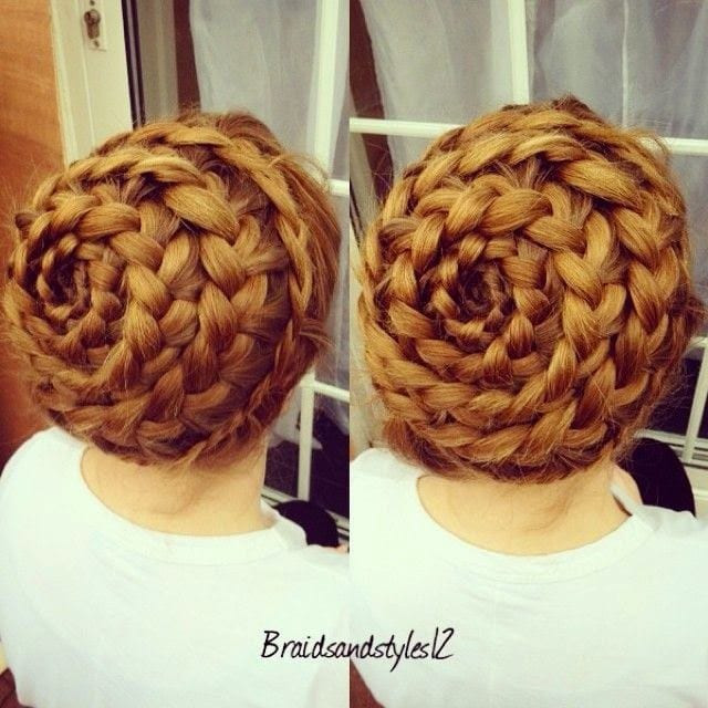 spiral braid up do brown hair