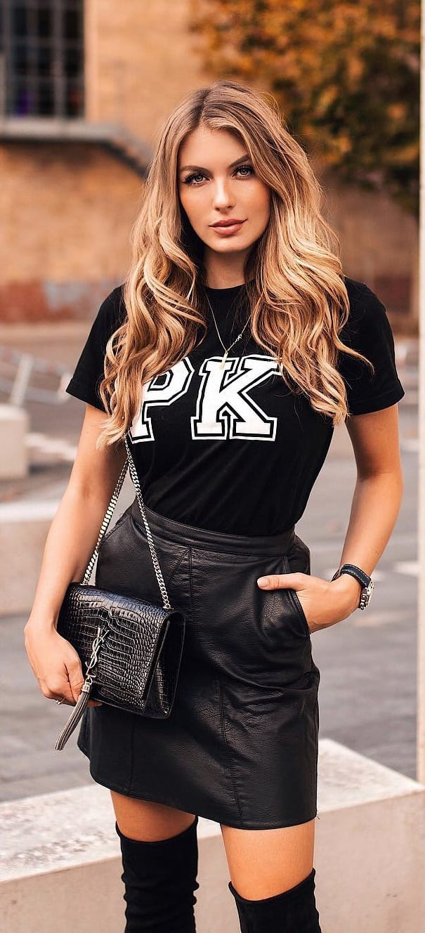 Black-t-shirt-and-Black-Leather-Pelmet-Skirt-Outfit