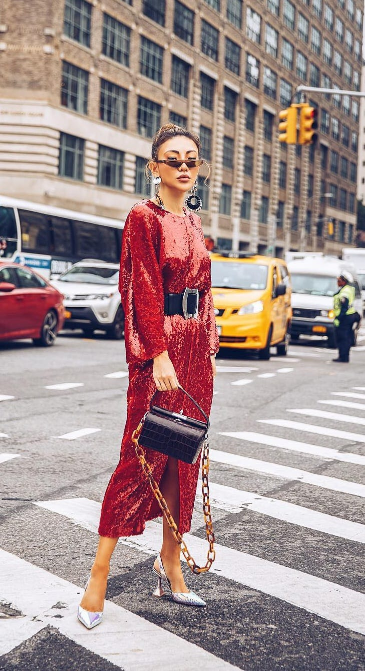 Red-Bling-Dress-Styled-with-a-Black-Belt-Outfit