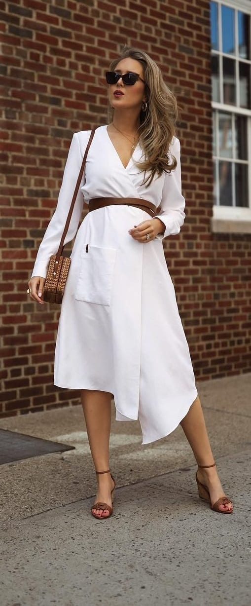 The-Subtle-White-Dress-with-a-Brown-Belt-and-Brown-Wedges