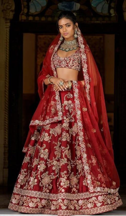 Bridal Lehenga in Blood Red Color