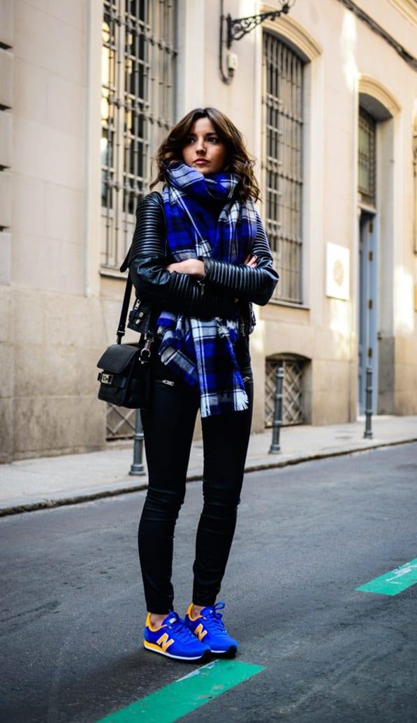 Cobalt-Blue-Sneakers-Black-Leggings-Black-Jacket-Scarf-Outfit
