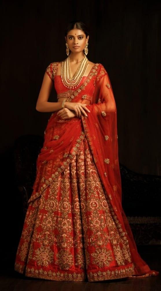 Red Bridal Lehenga With Jewellery