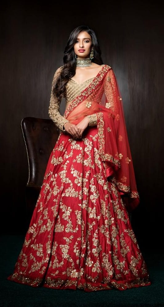 Red Embroidered Lehenga For the Brides