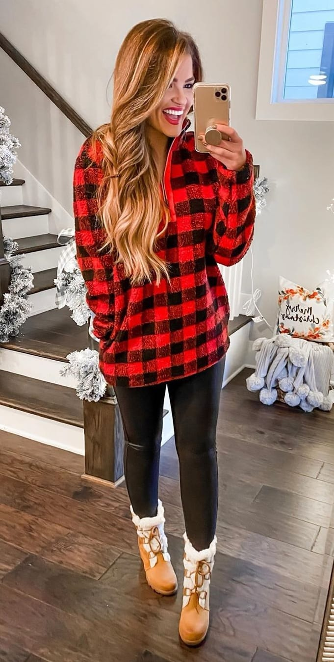 Red Plaid Sweater Outfit Ideas for Christmas