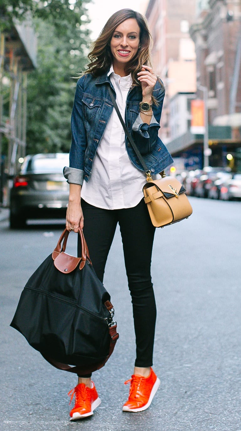 Red-Sneakers-White-Shirt-Blue-Denim-Jacket-Jeans-Bags