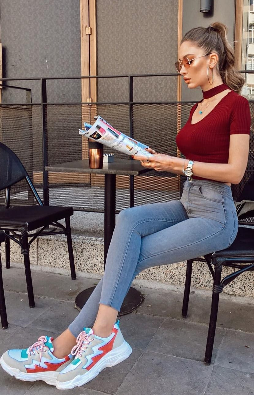 Stylish-Sneakers-Maroon-Bodycon-Top-Blue-Denim-Outfit