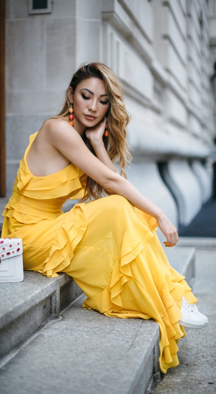 Yellow Ruffle Dress Outfit