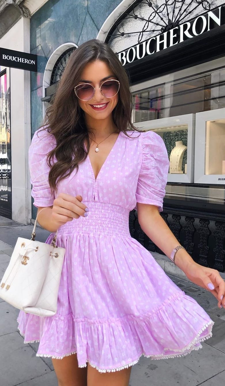 Cute Lavender pink Polka Dot dress outfit idea