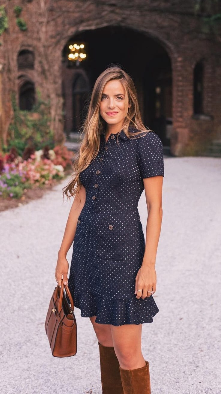 Gorgeous Blue Polka Dot Dress for Women