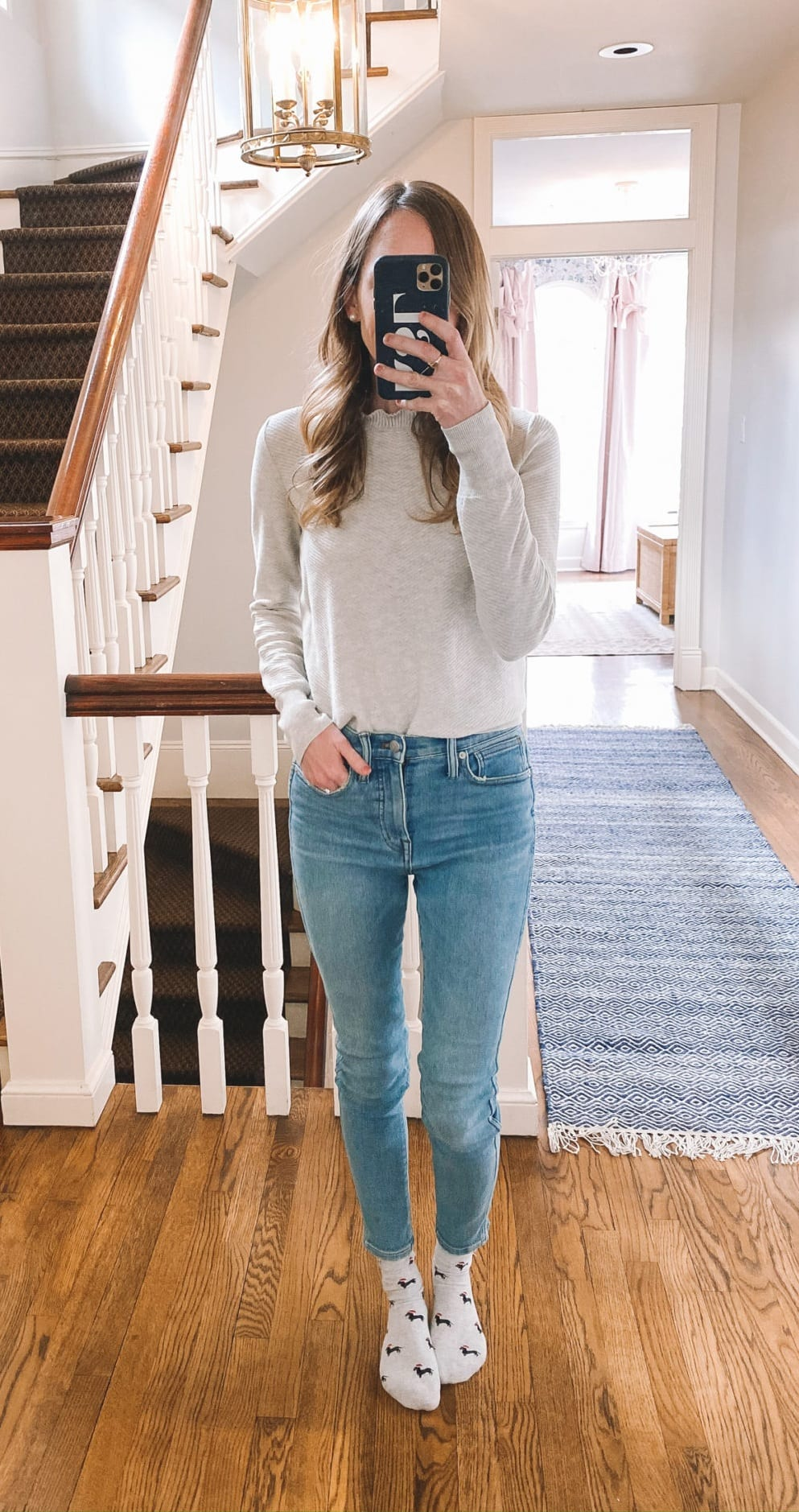 Work From Home Outfit- Grey Top- Blue Denims