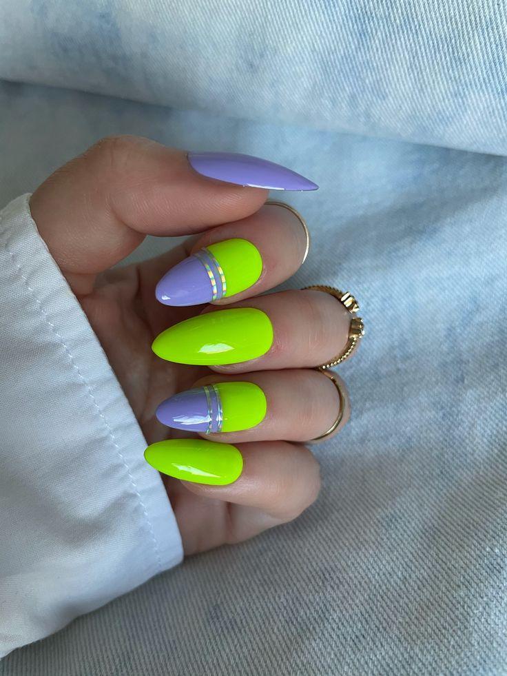 Poppy Neon Nail Art Design Ideas
