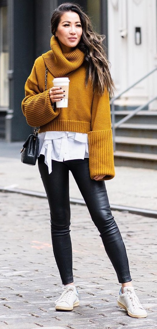 Perfect Fall Look- White Top- Mustard Pullover-Leather Pants-Sneakers