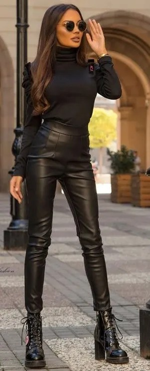 Stunning Black Outfit Look Teamed With Black Top - Black Leather Pants- Sunglasses- Heels