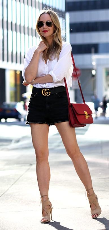 White Shirt- Denim Shorts- Gucci Belt- Sunglasses-Casual-Outfit-Ideas
