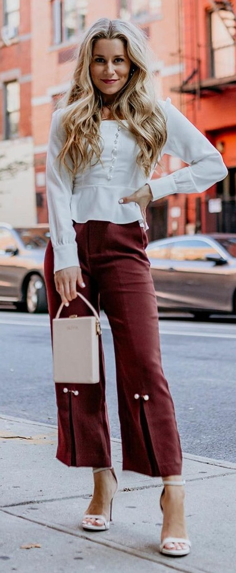 Cute Top and Cropped Trouser Outfits for Work