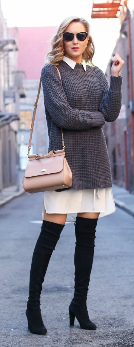 Ivory Silk Shirt Dress Layered With Knit Sweater Dress and Knee Boots