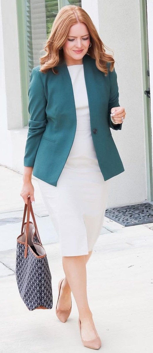Simple Dress Styled With Bold Blazer Outfit for Work