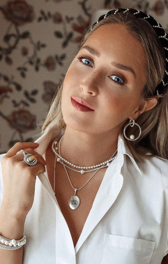 Stunning Silver Pearl Multi Layered Chain Necklace