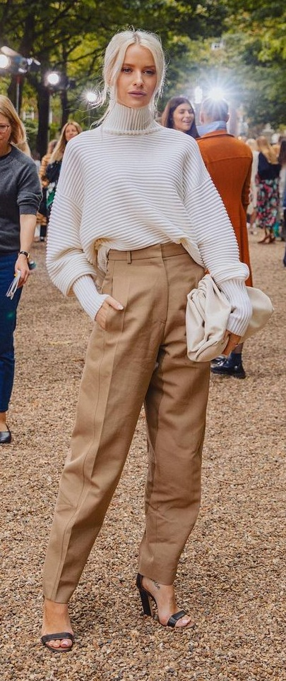 White Sweater- Beige Trousers Outfit for Work