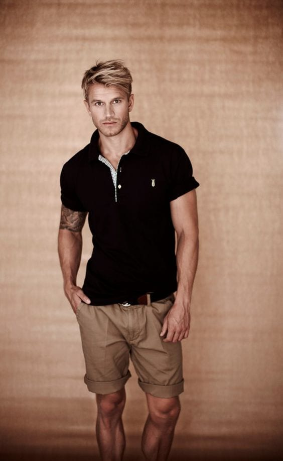 polo shirt and shorts for men outfit