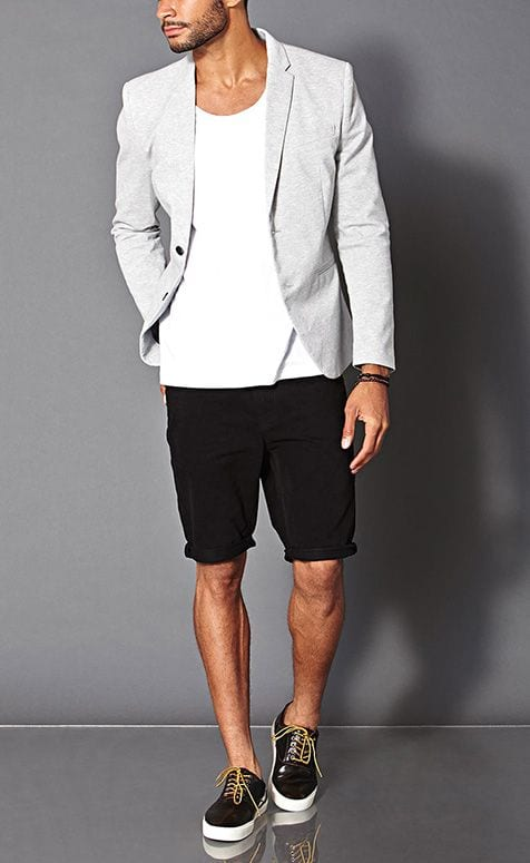 sneakers with blazer & shorts