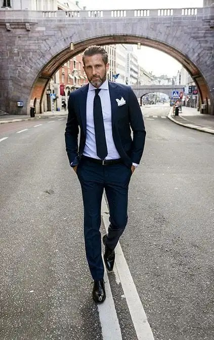 pocket square with blue suit
