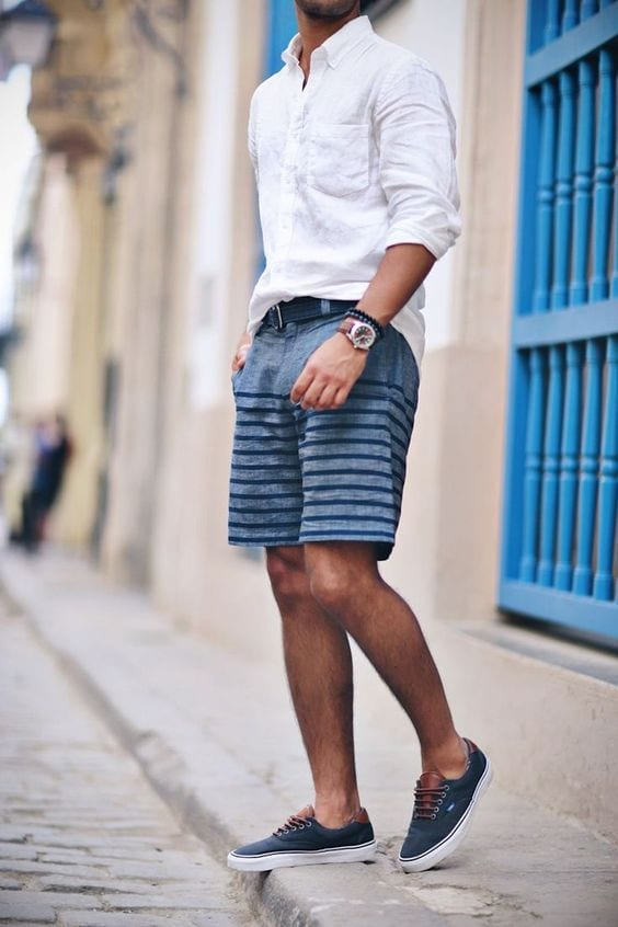 striped shorts with white shirt
