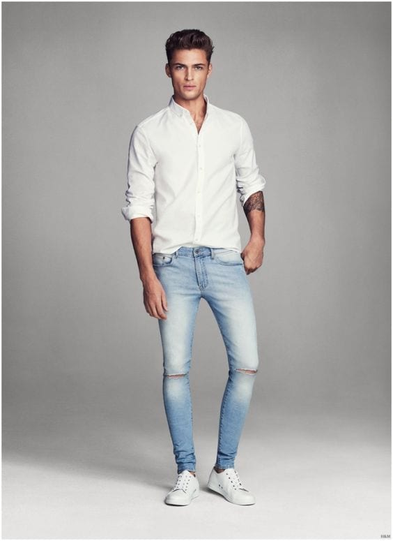 white oxford shirt with denims for men