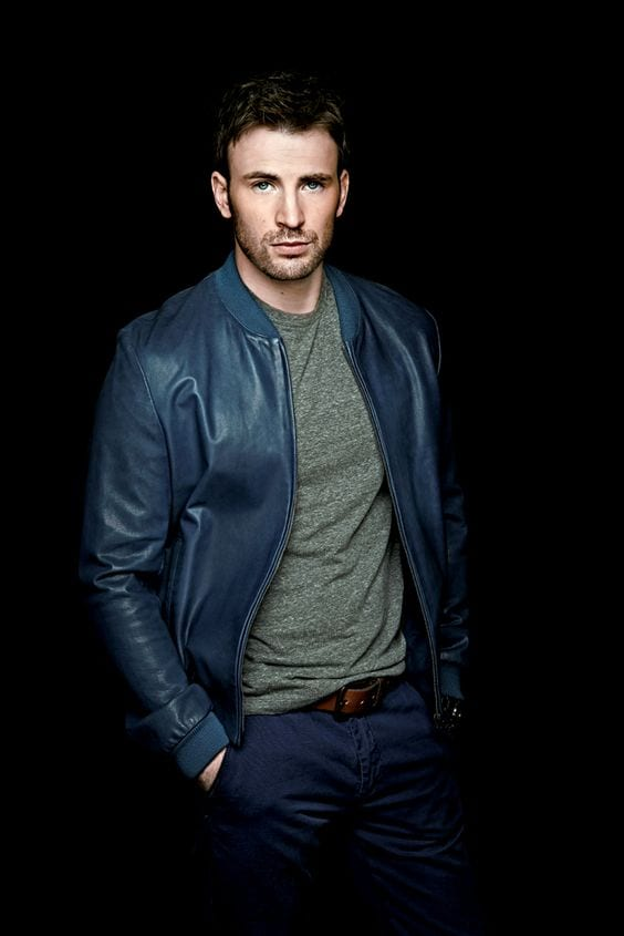 Chris Evans leather jacket outfit