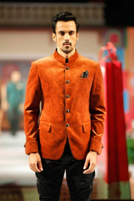 bright colored orange designed jodhpuri men