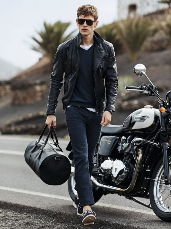 Pair up a V neck with a Henley and layer it with a leather jacket