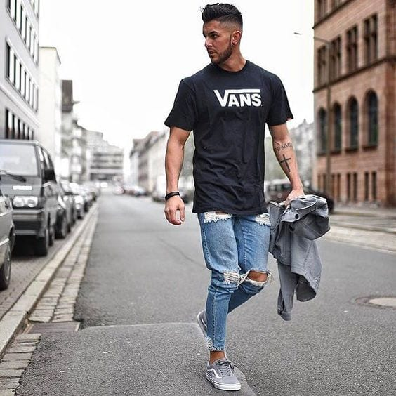 ripped jeans casual outfit for men