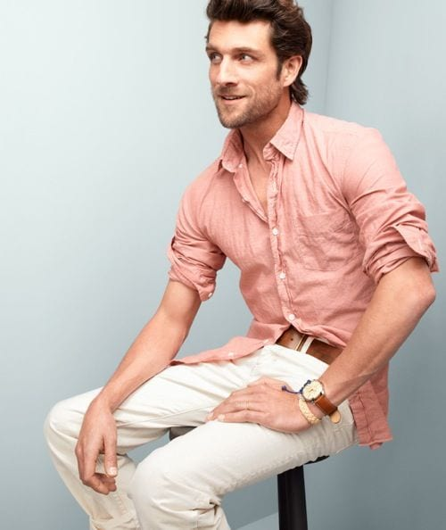 salmon shirt with chinos look