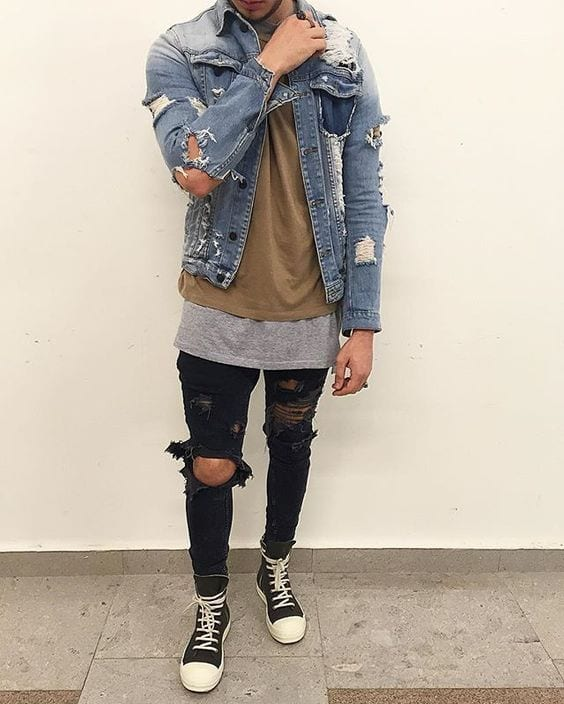 distressed outfit men
