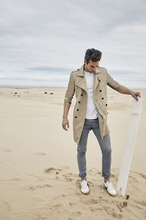 trench coat outfit on a beach