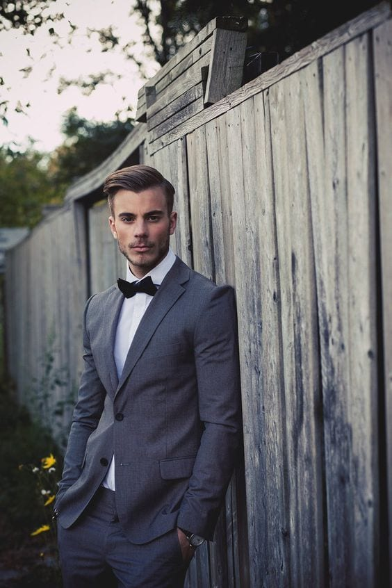photo shoot charcoal grey suit for men