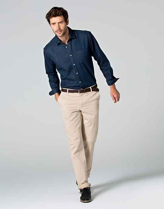 blue shirt with tan chino