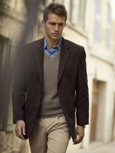 brown sweater vest look for men