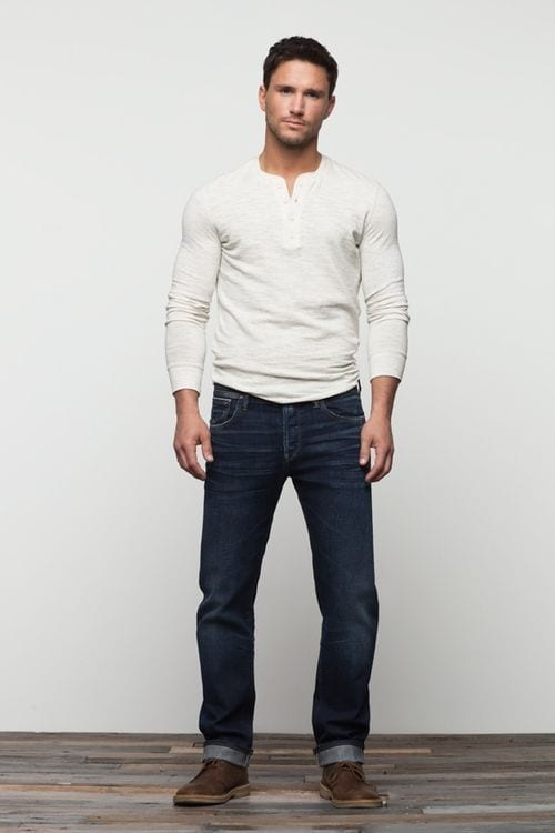white Henley outfit for men