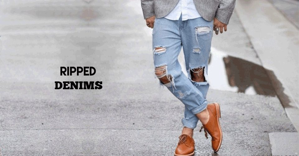 trendy ripped denims