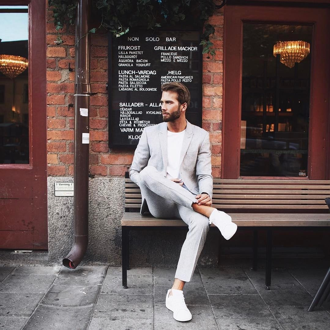 grey Suit with White T-shirt \u0026 White