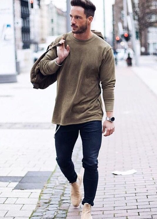 olive green sweatshirt