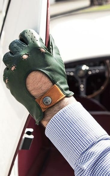 green leather driving gloves