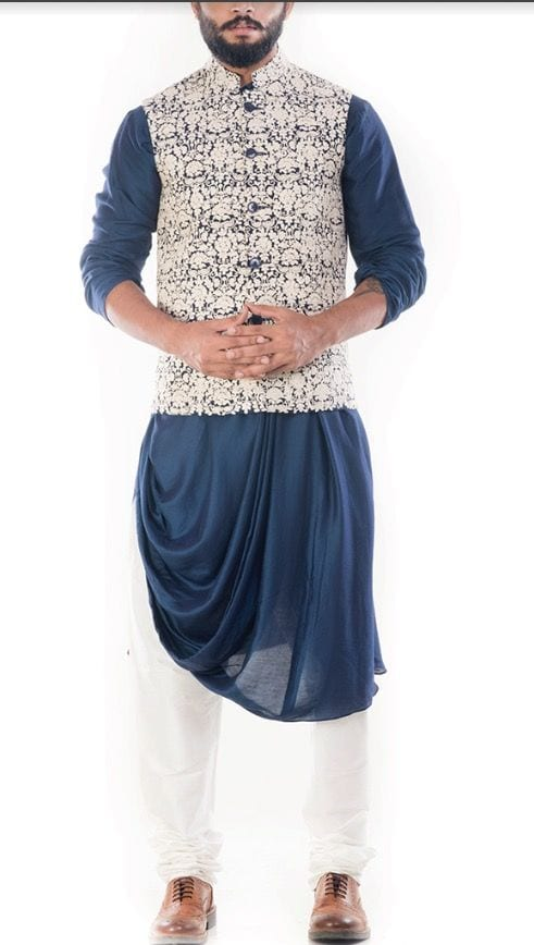 dhoti style kurta with nehru jacket