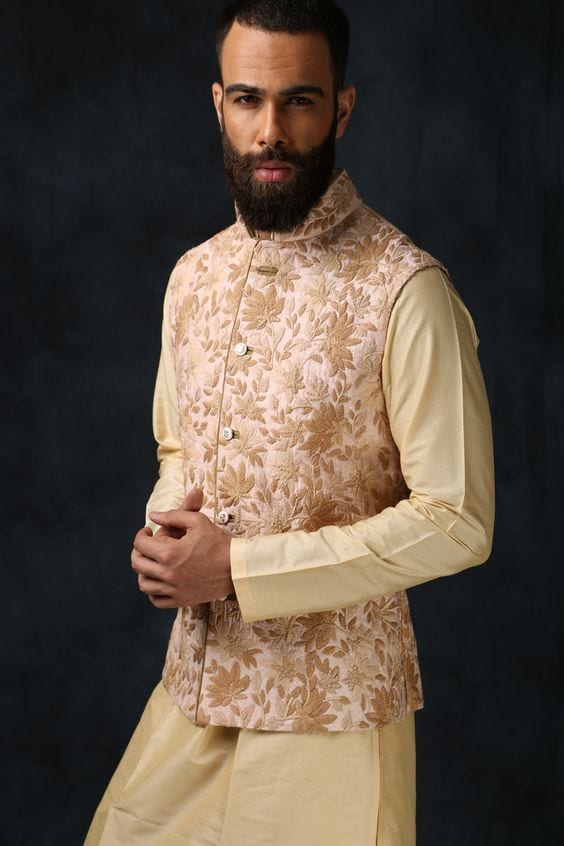 gold embroidery nehru jacket