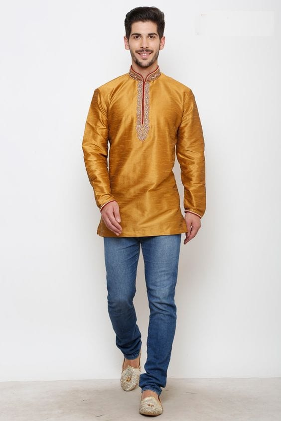 kurta with embroidery for haldi