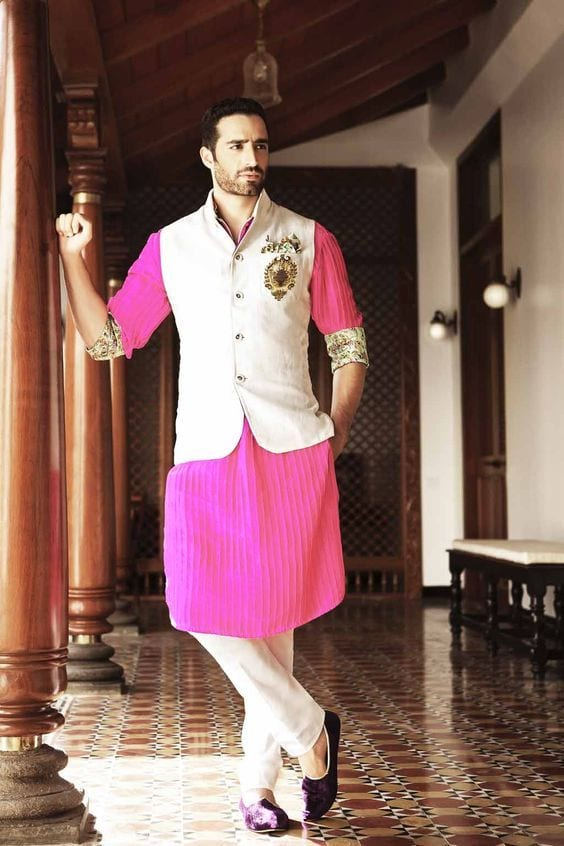 pink kurta with nehru jacket
